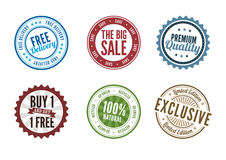 Retail Stamps. A set of 6 retail stamps Stock Image