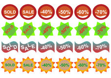 Retail Sticker Set:Sell And Discount Stock Images