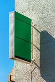 Retail store blank green square signboard as copy space Stock Photography