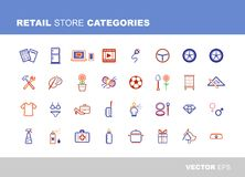 Retail store categories. Retail and store categories icons set grayscale, high detailed vector designs Royalty Free Stock Photos
