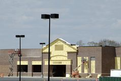 Retail Store Construction. A large retail store under construction in a new development stock photo