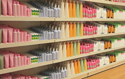Retail store cosmetic shelves Royalty Free Stock Photo