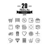 Retail store elements line icons set Stock Image