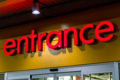 Retail store entrance. Sign at night Stock Photography