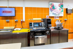 Retail store equipment at the supermarket Magnit. One of the lar Stock Photos