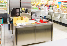 Retail store equipment at the supermarket Magnit. One of the lar Royalty Free Stock Photography
