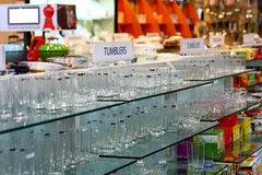 Retail Store for Home Needs. With highlight to glass products and tumblers stock images