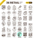 Retail Store pixel perfect outline icons Stock Photos