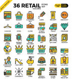 Retail Store pixel perfect outline icons. Modern style for website Royalty Free Stock Images
