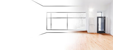 Retail store,  shop sketch and photo interior design concept -. Interior design sketch and photo merge - showroom with shopping window, outlines and copy space Royalty Free Stock Image