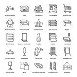 Retail store supplies flat line icons. Trade shop equipment signs. Commercial objects - cash register, basket, scales Royalty Free Stock Photos