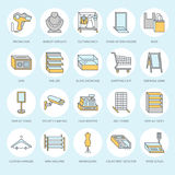 Retail store supplies flat line icons. Trade shop equipment signs. Commercial objects - cash register, basket, scales Royalty Free Stock Images
