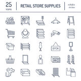 Retail store supplies line icons. Trade shop equipment signs.. Commercial objects - cash register, basket, scales, shopping cart, shelving, display cases. Thin Stock Photography