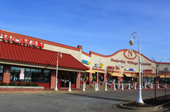 Retail Stores in Shopping Plaza. Retail Stores in a small suburban town USA royalty free stock photo