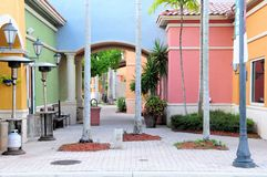 Retail stores in South Florida. Stores in strip center shopping plaza Stock Photography