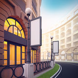 Retail street with blank template billboards. A 3d illustration of retail street with blank template billboards Royalty Free Stock Photo