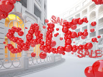 Retail street with Sale word consist of bubbles. Stock Photography