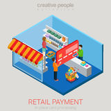 Retail supermarket store shop payment flat 3d vector isometric Royalty Free Stock Photo