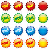 Retail tags. Glossy colorful commercial retail tags: FREE NEW SALE and empty Royalty Free Stock Photography