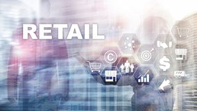 Retail Technology Communication Shopping Virtual Screen Concept. Marketing Data management. Futuristic Online shopping. Abstract Background royalty free stock photography