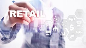 Retail Technology Communication Shopping Virtual Screen Concept. Marketing Data management. Futuristic Online shopping. Abstract Background royalty free stock images