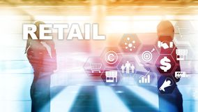 Retail Technology Communication Shopping Virtual Screen Concept. Marketing Data management. Futuristic Online shopping. Abstract Background royalty free stock photo
