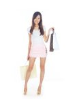 Retail Therapy. Concept with Asian Lady and Bags Royalty Free Stock Photos
