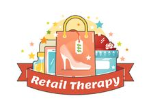 Retail therapy shopping concept, making compulsive purchases. In order to improve persons mood. Illustrated vector badge Royalty Free Stock Photography