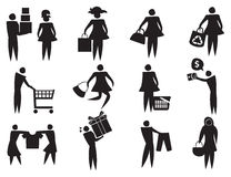 Retail Therapy Vector Icons. Vector illustration of black and white icons related to shopping and retail therapy Royalty Free Stock Images