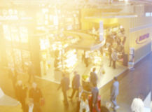 Retail trade show. Blurred image of people at trade show royalty free stock photos