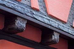 Traditional alsatian facades of medieval building. Retail of traditional alsatian facades of medieval building royalty free stock image