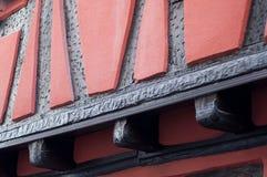 Traditional alsatian facades of medieval building. Retail of traditional alsatian facades of medieval building royalty free stock photos