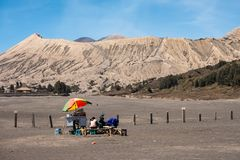Retail trolley of local food with bromo foothill. Background royalty free stock photos