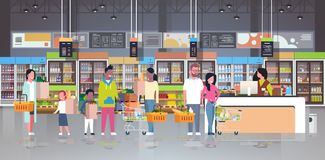 Retail woman cashier at checkout supermarket mix race customers holding basket with food standing line queue shopping. Concept grocery market interior flat stock illustration