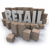 Retail Word Cardboard Boxes Store Products Inventory Stock Stock Images