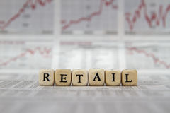 RETAIL. Word on a newspaper background royalty free stock photography