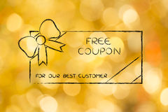 Retailer's free coupon with bow for the best customers. Retailer's free coupon with wrapping bow, concept of rewarding the best customers Royalty Free Stock Images