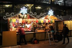 Christkindlmarket at Night, Park at Wrigley, Wrigley Field, Chicago Cubs Park royalty free stock photography