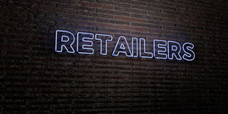 RETAILERS -Realistic Neon Sign on Brick Wall background - 3D rendered royalty free stock image. Can be used for online banner ads and direct mailers royalty free illustration