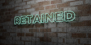 RETAINED - Glowing Neon Sign on stonework wall - 3D rendered royalty free stock illustration. Can be used for online banner ads and direct mailers Royalty Free Stock Images