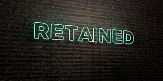 RETAINED -Realistic Neon Sign on Brick Wall background - 3D rendered royalty free stock image. Can be used for online banner ads and direct mailers vector illustration