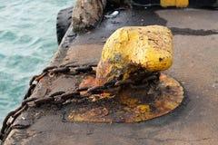 Retaining harbor ship mooring. Port birthing stock photos