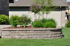 Retaining Wall. At a Residential Home Royalty Free Stock Images