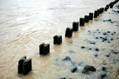 Retaining Wall for Bank Corrosion Protection. Retaining Wall for Bank Corrosion Protection, Bangkok Thailand stock photo