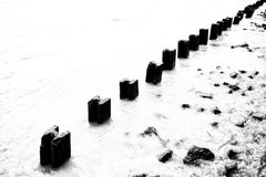 Retaining Wall for Bank Corrosion Protection. In Black and White Process stock images