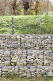 Retaining wall gabion. Retaining drywall, built of stone filling a container made from a wire mesh hexagonal mesh, said gabion Royalty Free Stock Photos
