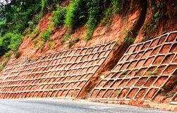 Retaining wall landslides Stock Images