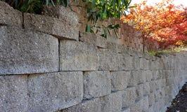Retaining wall. Made of concrete wall blocks stock photo