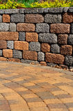 Retaining wall and patio Royalty Free Stock Photo