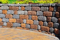 Retaining wall and patio. With Landscaping and Pavers Stock Photography